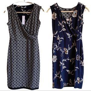 SOLD Reversible Graphic Print Sleeveless Wrap Dress